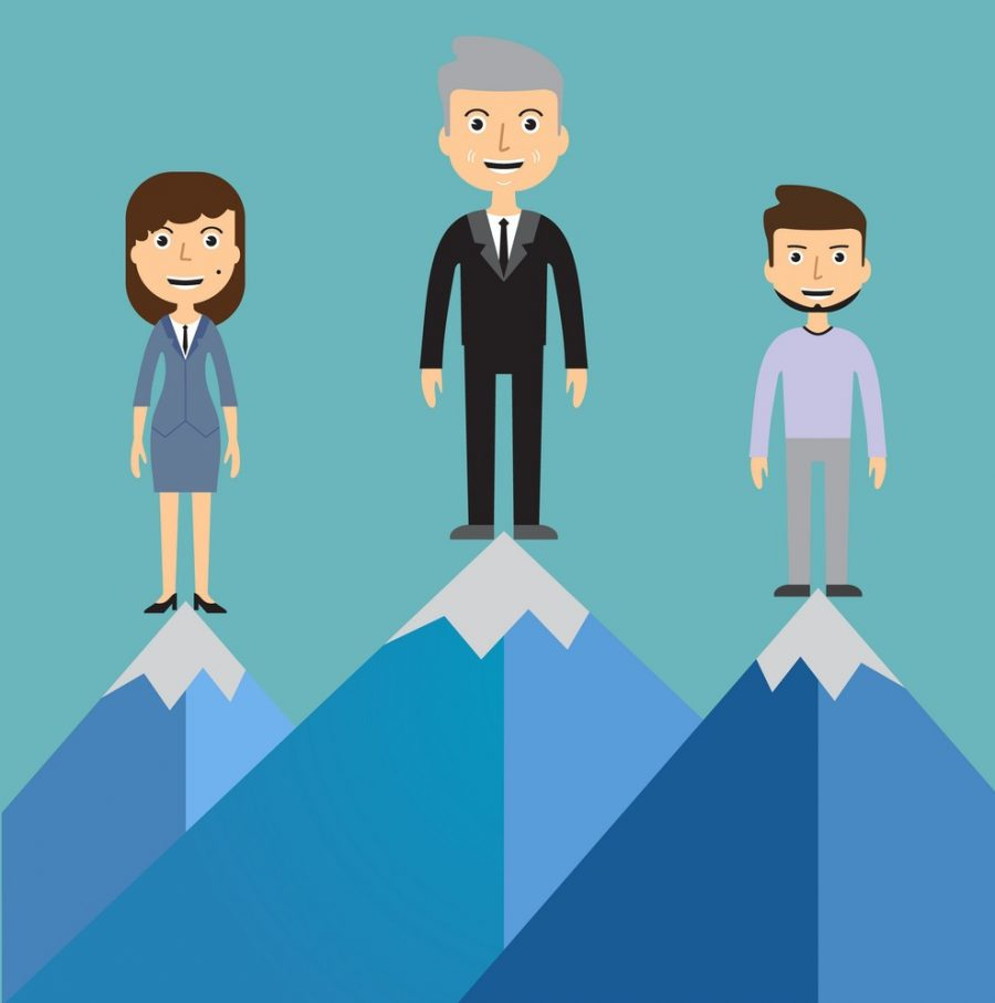 leaders-on-a-mountain-peak-business-success-vector-14499074